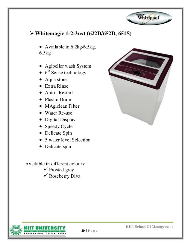 whirlpool whitemagic pro 720h user manual